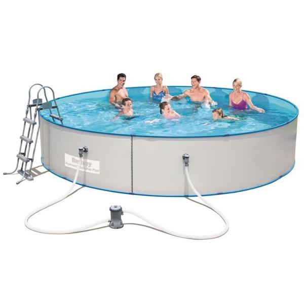 Bestway Frame Pool 360x90cm mit Pumpe Sicherheitsleiter Hydrium Steel Splasher