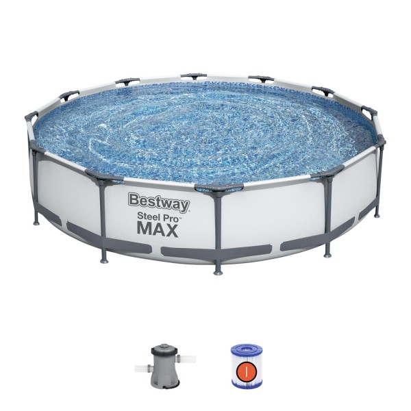 Bestway 56416 Frame Pool Steel Pro Set Schwimmbad 366x76cm Pumpe 1.249 L/h