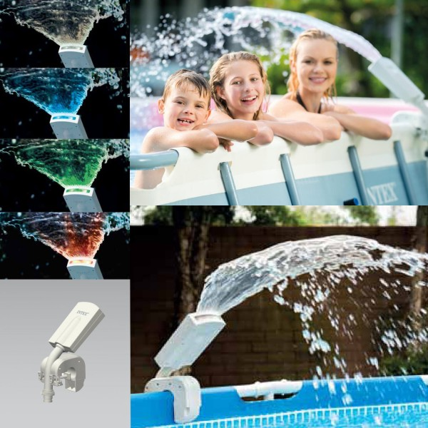 Intex 28089 LED Wasserfontüne Springbrunnen Multi-Color Pool Sprayer Wasserfall