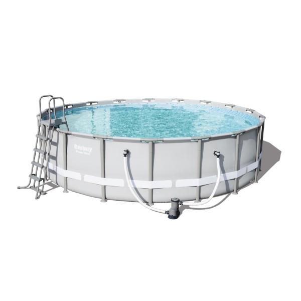 Bestway 56427 Frame Pool Power Steel 549x132 cm mit Filterpumpe Leiter Zubehör