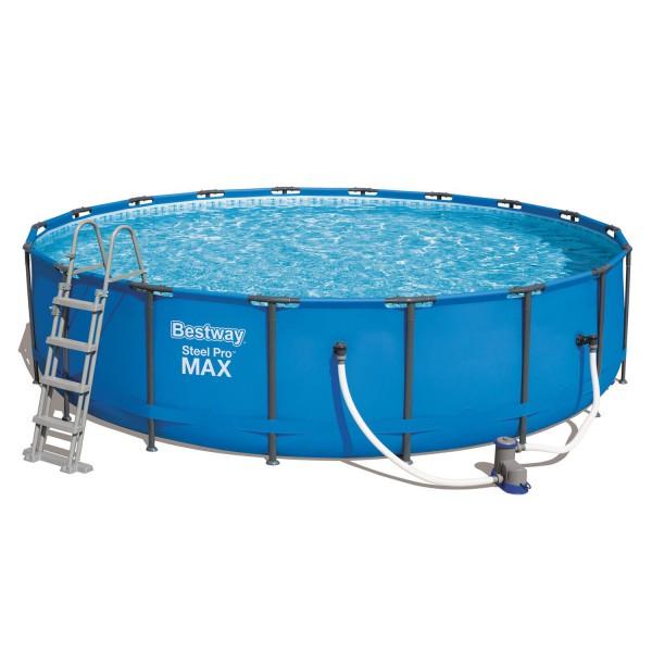 Bestway Frame Pool mit Filterpumpe Leiter Zubehör 549x122cm Steel Pro Set 56462