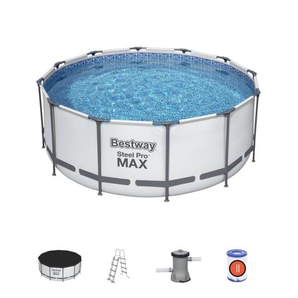 Bestway 56420 Frame Pool Steel Pro Set 366x122 cm Filterpumpe Leiter Zubehör