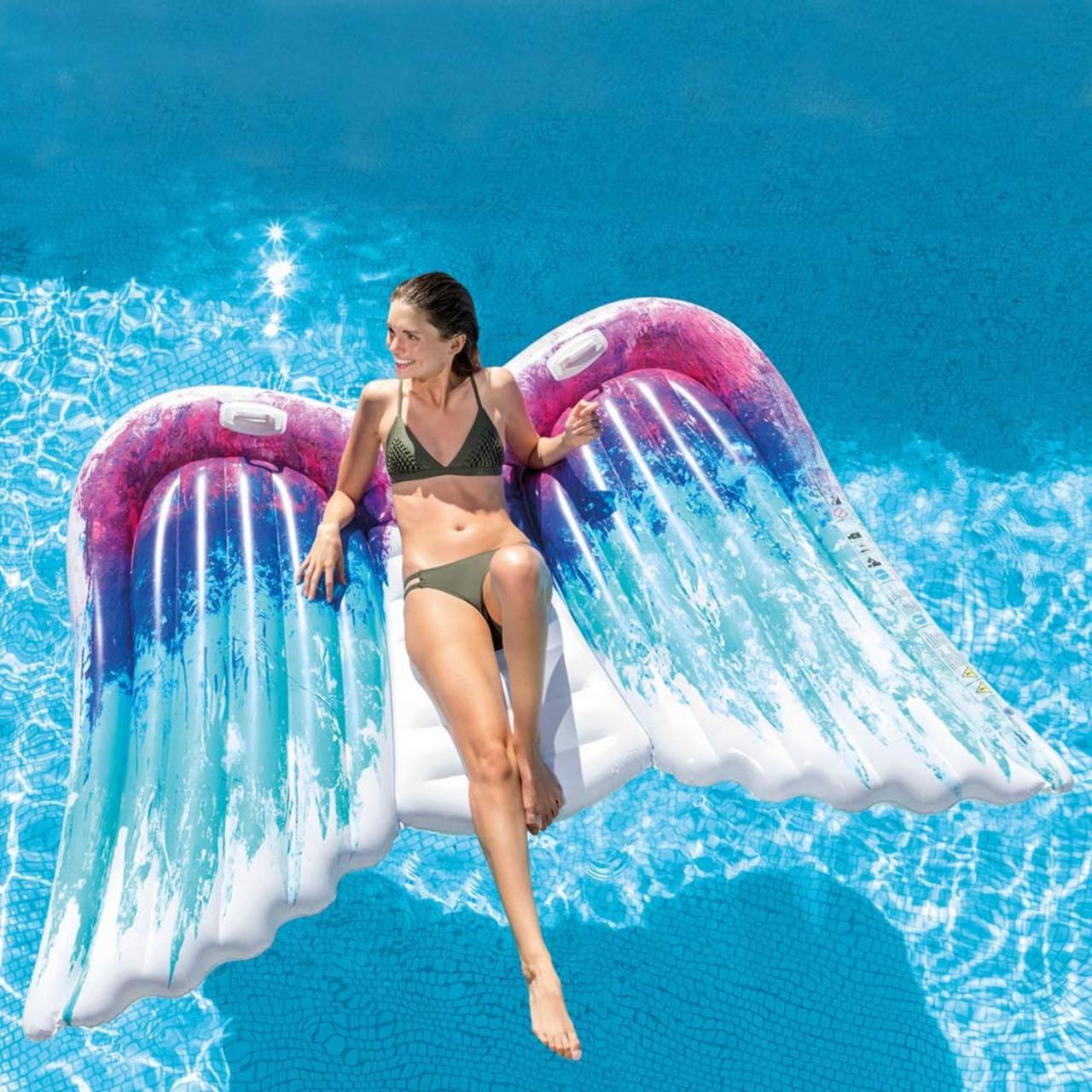 Intex Luftmatratze Engelsflügel Badeinsel Liege Spaß 251x160cm aufblasbar 58786