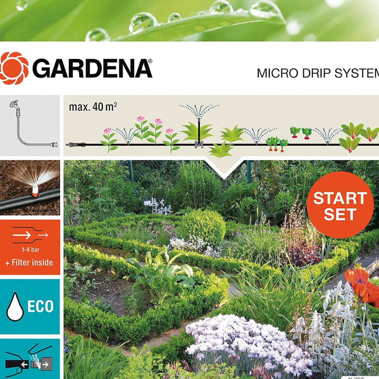 Gardena 13015-20 Micro-Drip-System Start Set Pflanzflächen für 40 m²