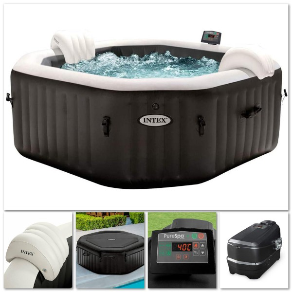 Intex 28458 Whirlpool Pure SPA Bubble Jet Massage 201x71cm aufblasbar 4 Personen
