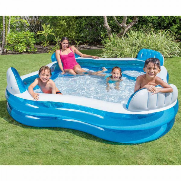 Intex 56475 Swim Center Family Lounge Swiming Pool + Getränkehalter 229 x 229 cm