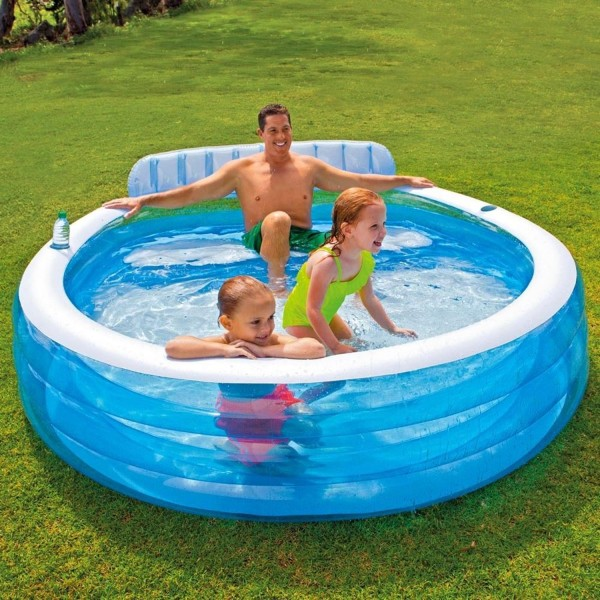 Intex Swim Center Lounge Family Pool Planschbecken Rückenlehne 224 x 216 x 76 cm