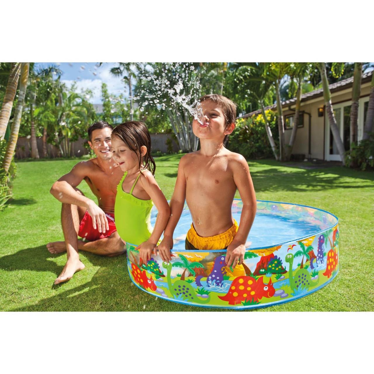 Intex Kinderpool Snap-Set-Pool Happy Animal, Mehrfarbig, Ø 122 x 25 cm