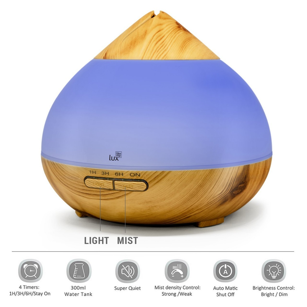 Aroma Diffuser Likemylux 300ml Luftbefeuchter Ultraschall Öl Diffusor LED