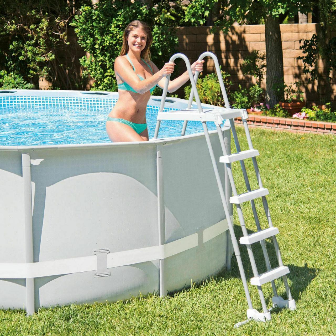 Intex Sicherheitsleiter Poolleiter 122-132 cm Easy Frame Einstiegsleiter Leiter