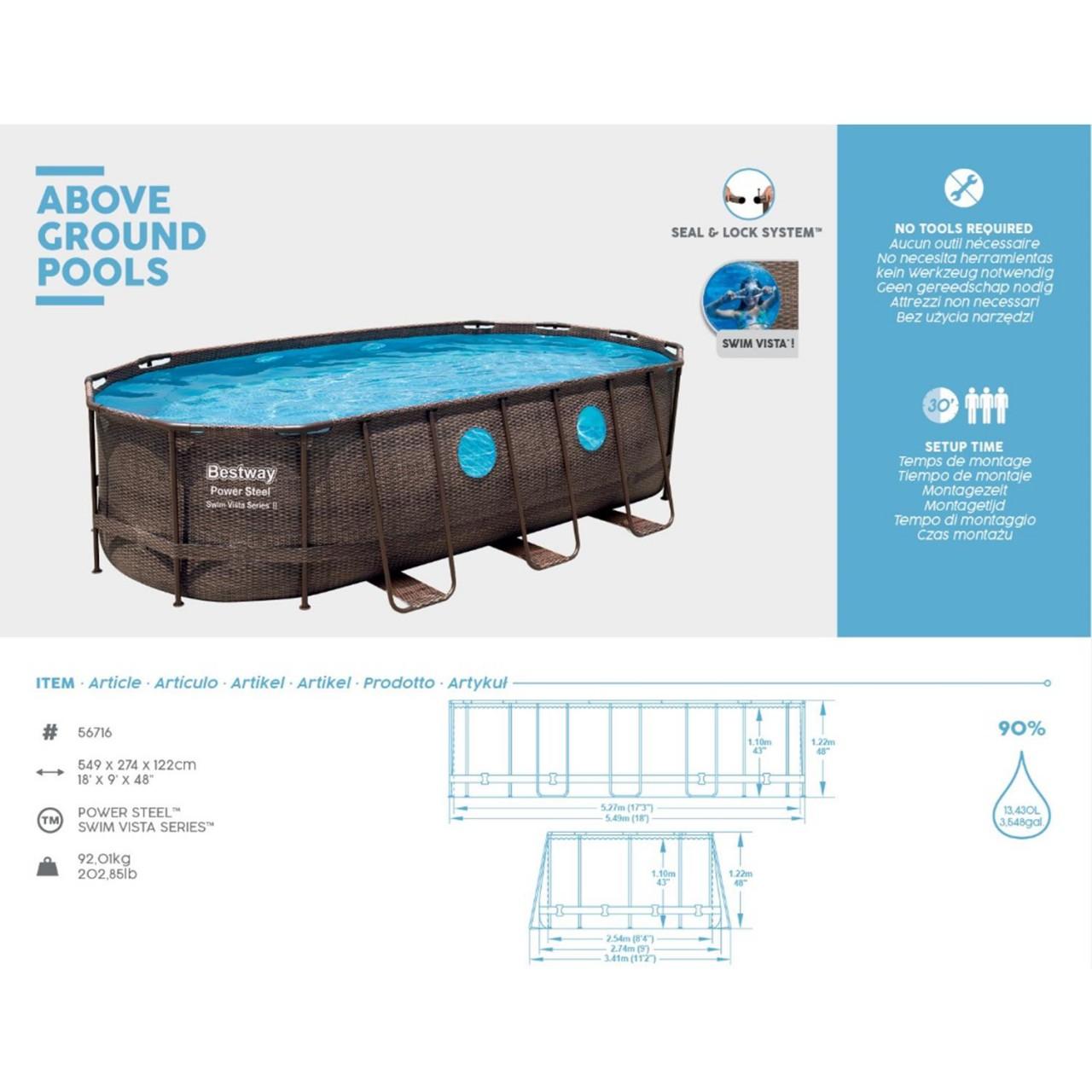 Bestway 56716 Power Steel Pool Oval Set Rattanoptik 549x274x122 cm