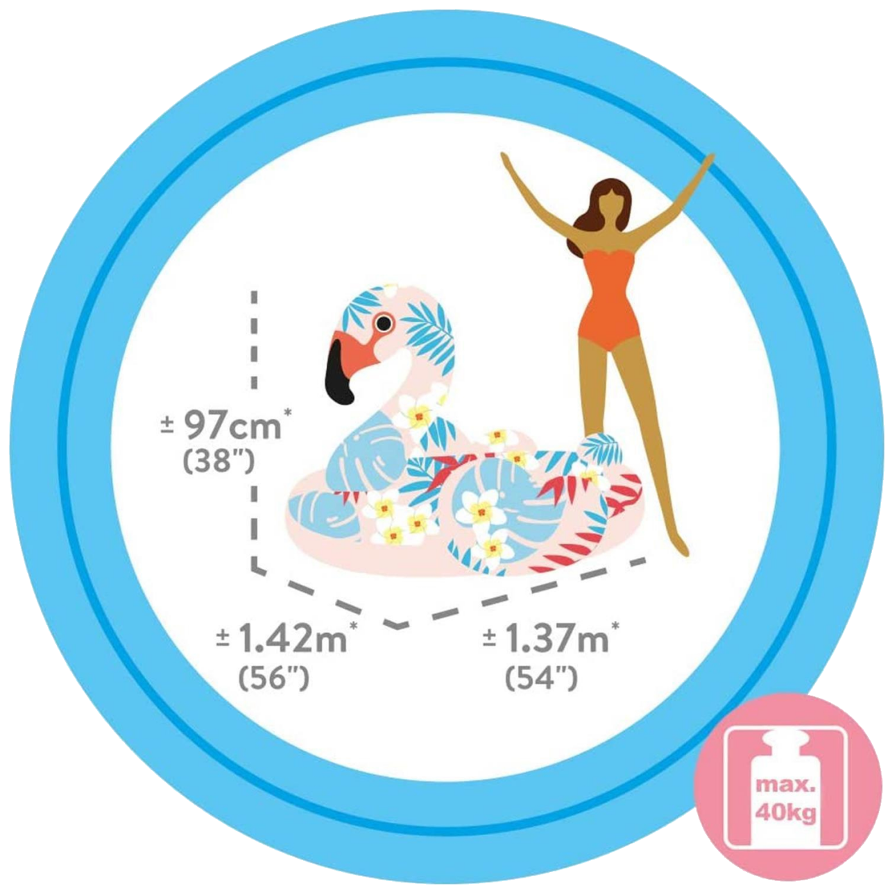 Intex Tropical Flamingo Badeinsel Schmimmliege Luftmatratze 142x137x97 cm 57559