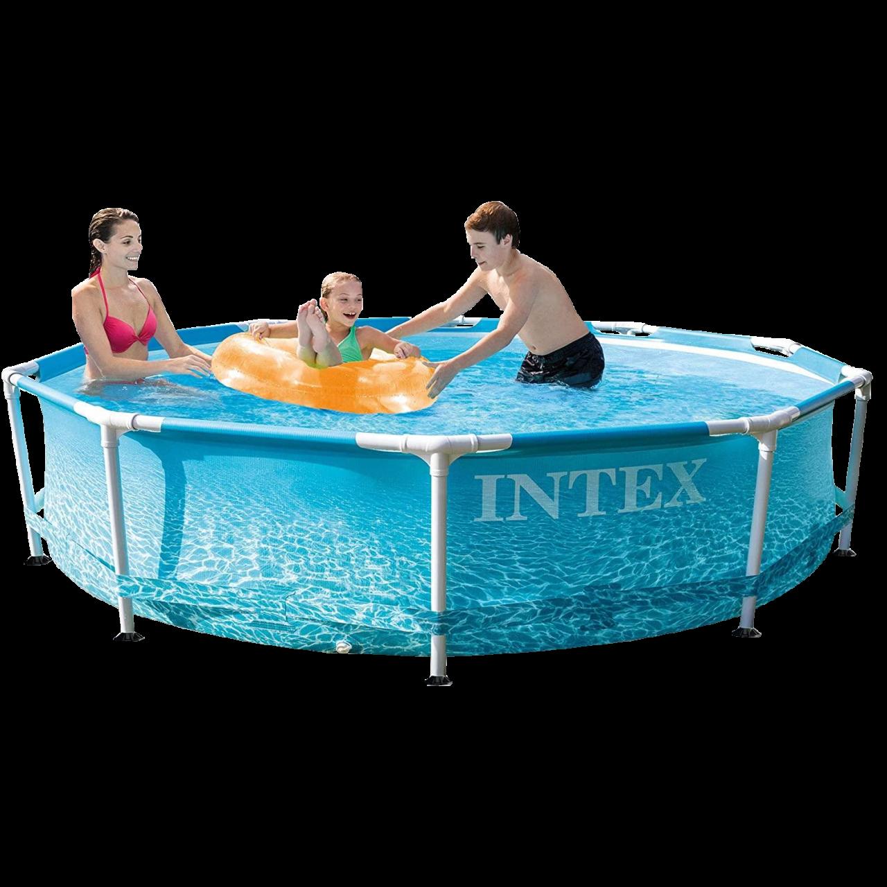 Intex 28206 Beachside Metal Frame Pool Ø305x76cm Swimming Pool Rundpool Family