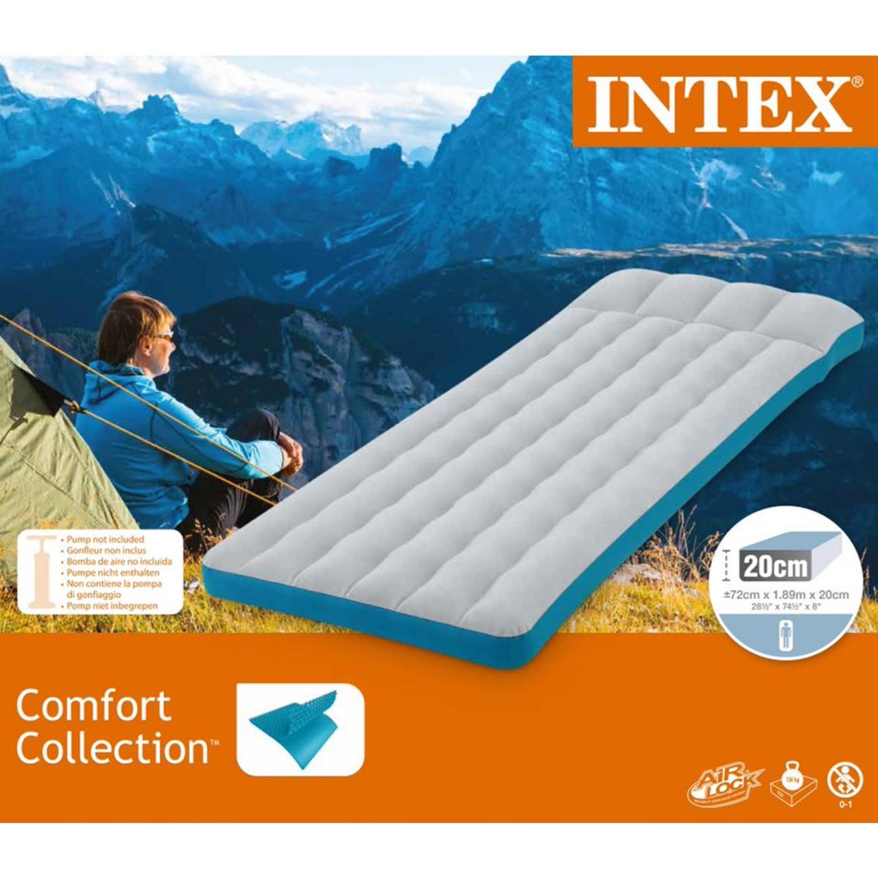 Intex Luftmatratze Einzelbett Camping Luftbett aufblasbar 189x72x20cm 67998