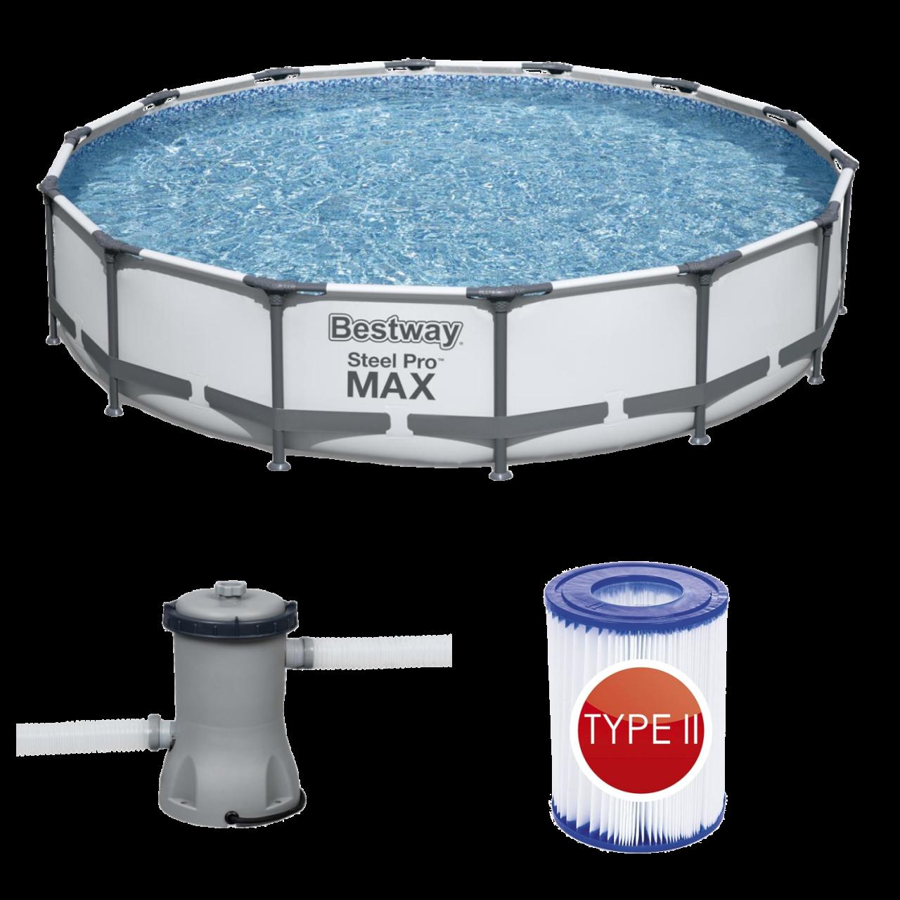 Bestway 56595 Frame Pool Steel Pro MAX Set 427x84 cm mit Filterpumpe 2.006l/h