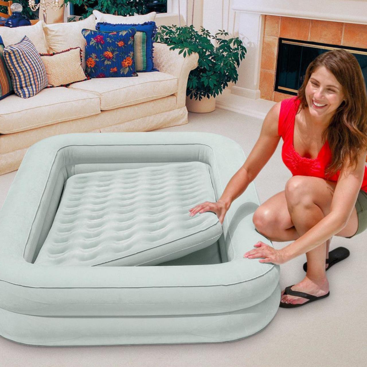 Intex Reisebett Gästebett Kinderbett Luftbett mit Handpumpe Tasche 168x107x25 cm