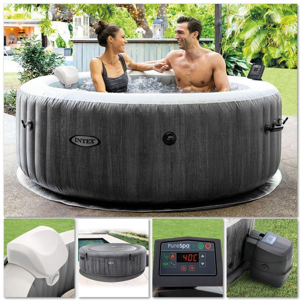 Intex 28442 Whirlpool Pure SPA Bubble Massage GreyWood 216x71 cm aufblasbar
