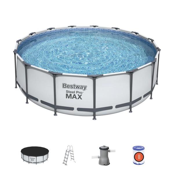 Bestway Frame Pool Steel Pro Set 457x122cm mit Filterpumpe Leiter Zubehör 56438