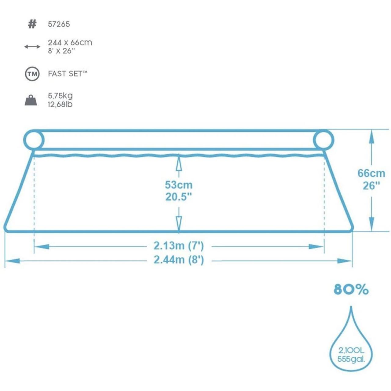 Bestway 57265 Fast Set™ Pool Schwimmbad Swimmingpool 244 x 66 cm, rund