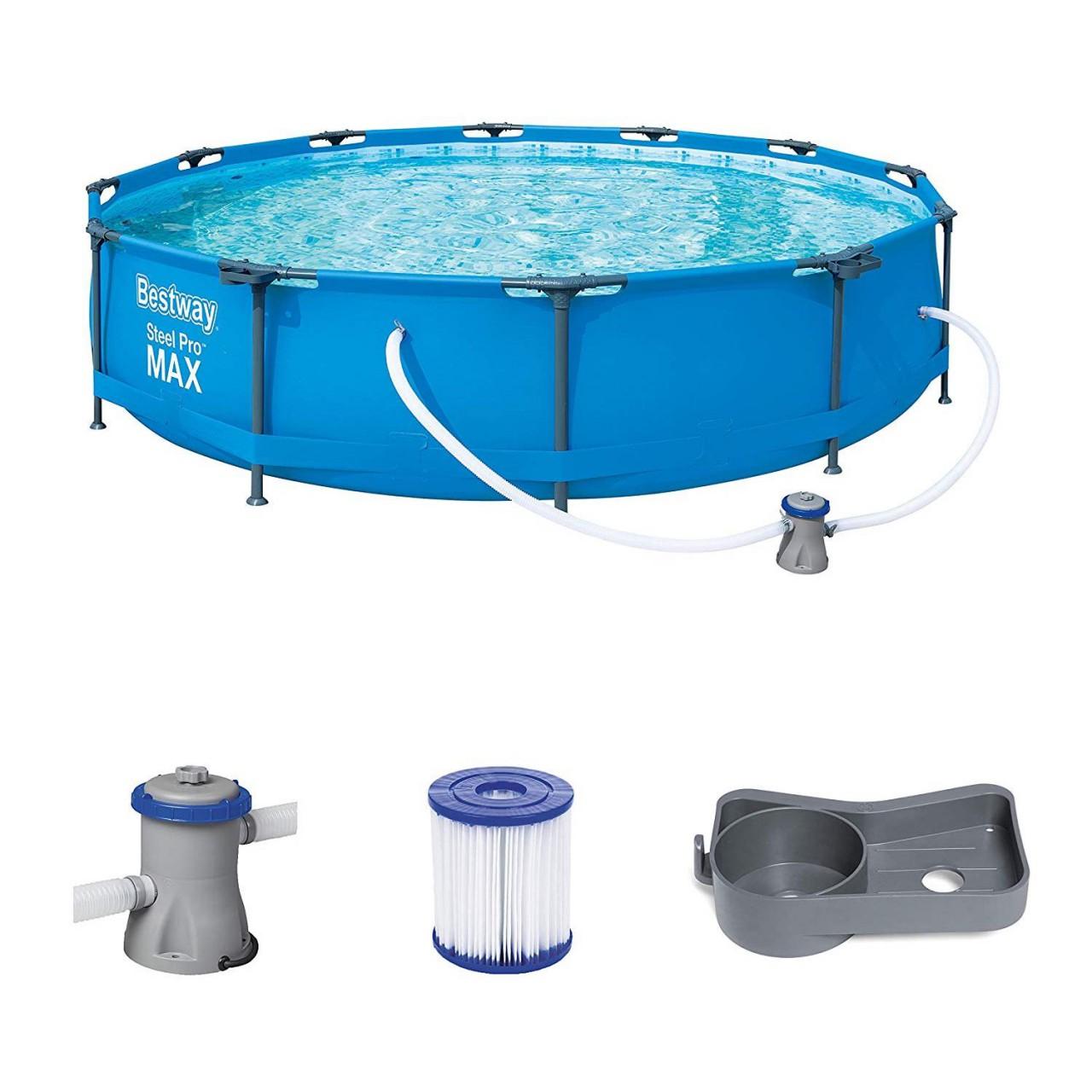 Bestway Pro Max™ 56416 Frame Pool Steel Pro Set Schwimmbad 366x76cm Pumpe 1.249 L/h