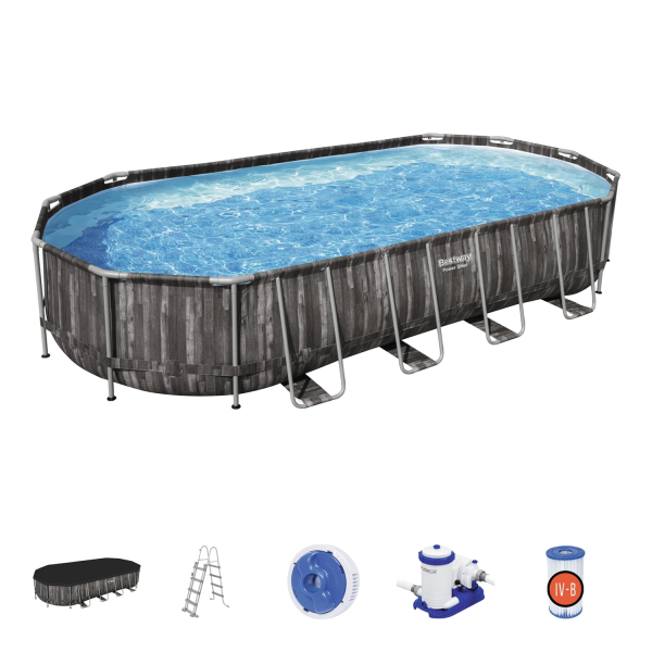 Bestway 5611T Power Steel Frame Pool Set 732x366x122cm Pumpe Leiter Abdeckplane