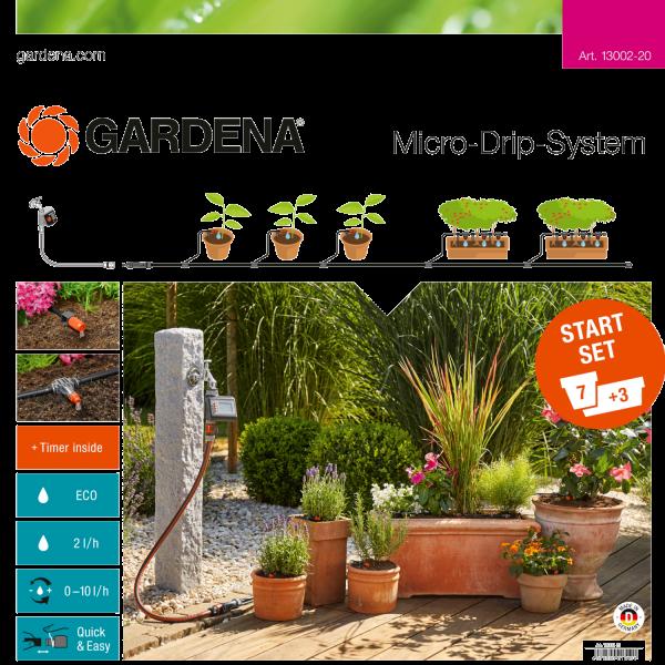 Gardena 13002-20 Micro-Drip-System Start-Set Pflanztöpfe M automatic