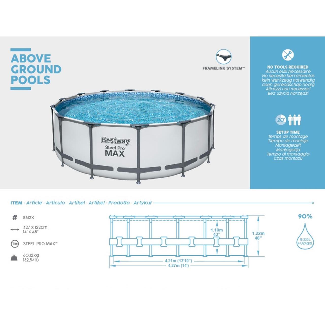 Bestway 5612X Steel Pro MAX Frame Pool Set Ø427x122cm Pumpe Leiter Abdeckplane