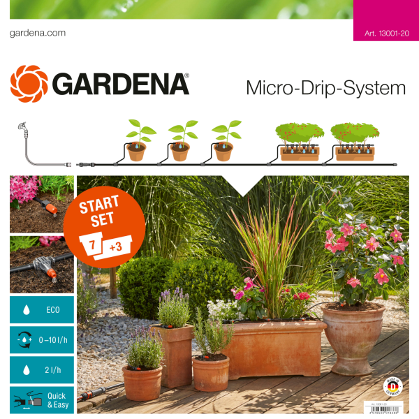 Gardena 13001-20 Micro-Drip-System Start-Set Pflanztöpfe M