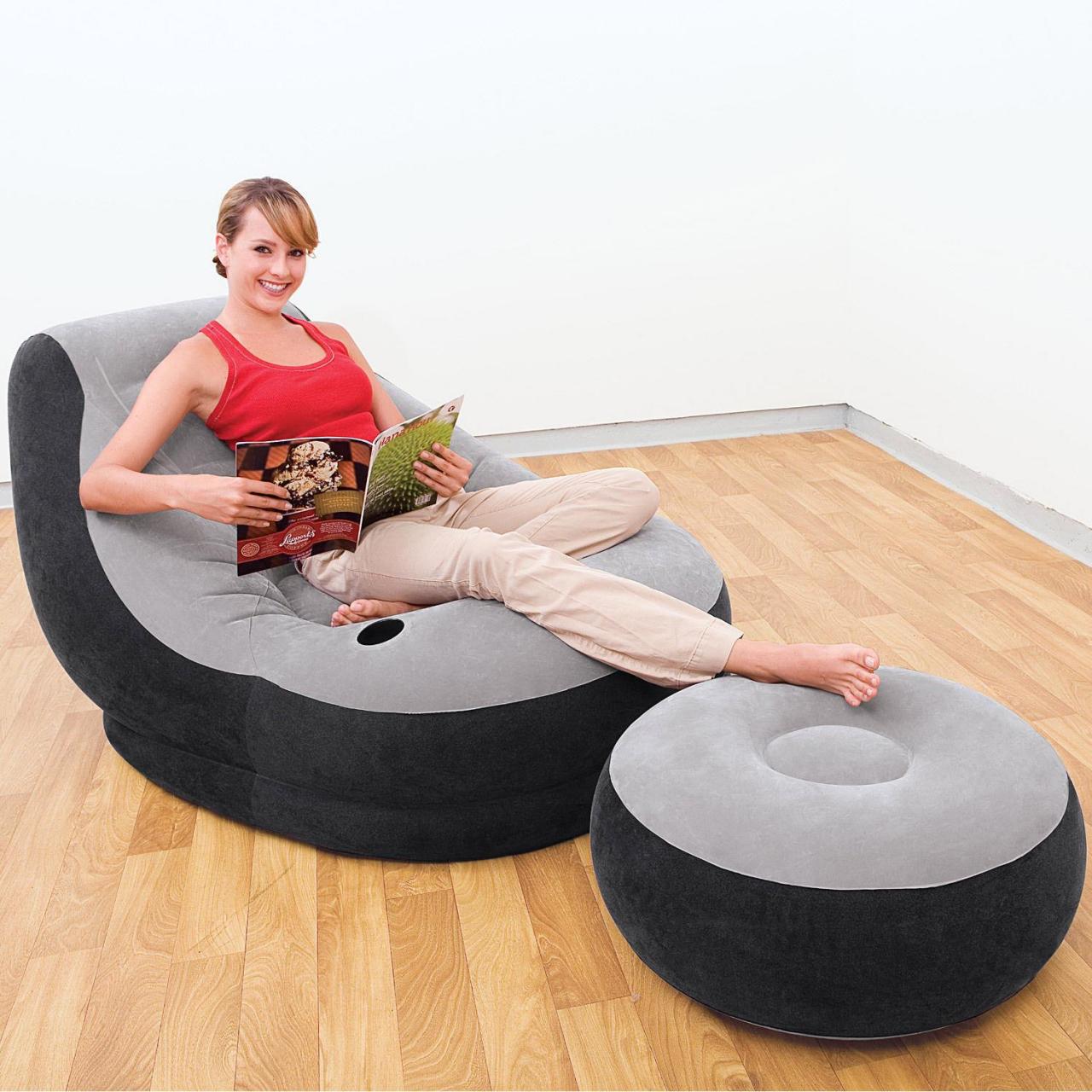 Intex 68564 Fernseh Relax Luftsessel mit Ottomane Fußhocker Lounge aufblasbar