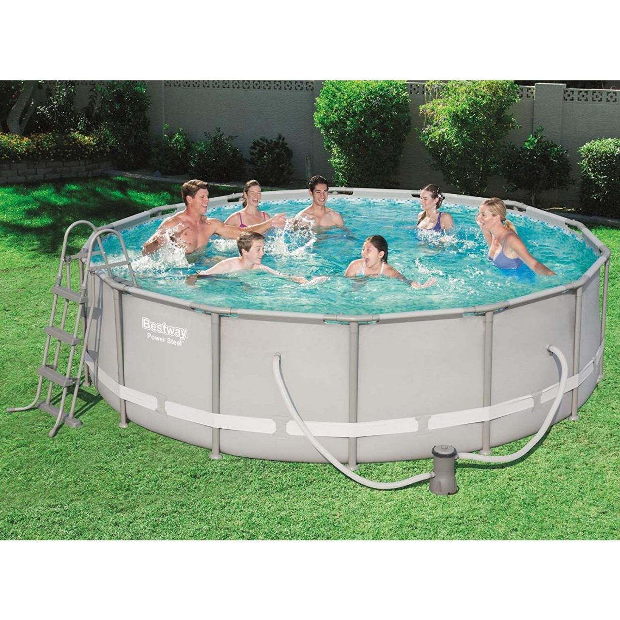 Bestway 56641 Frame Pool Power Steel 427x107 cm mit Filterpumpe Leiter Zubehör