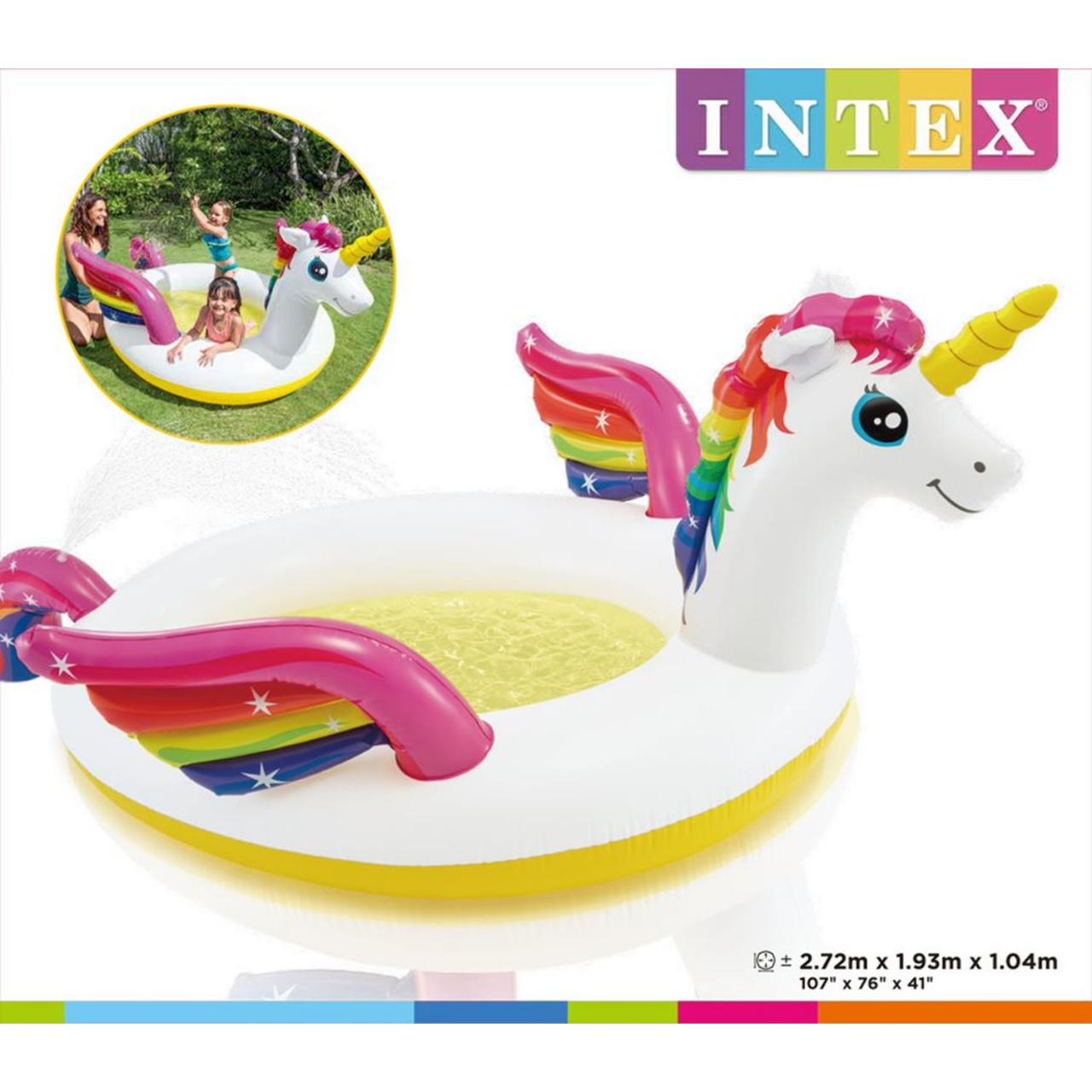 Intex Schimmbad Einhorn Planschbecken Unicorn 272x193x104cm + Fontäne aufblasbar