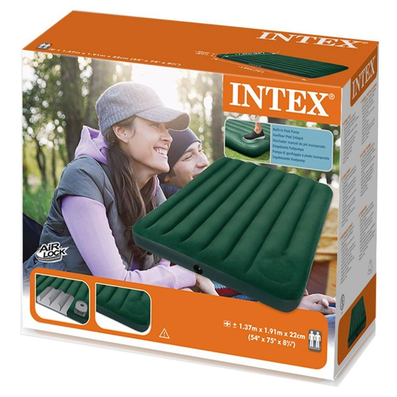 Intex Lufbett Güstebett intergrierte Fußpumpe Cambing 191x137x22cm 66928