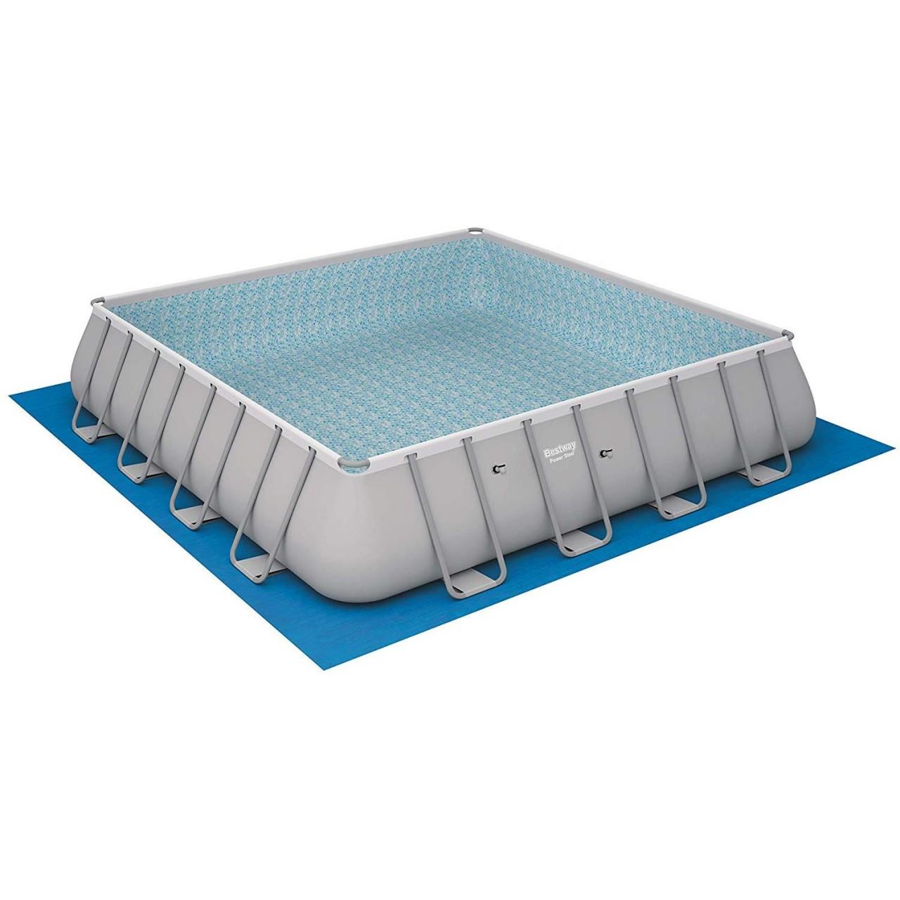 Bestway 56626 Frame Pool Power Steel 488x488x122 Pumpe Leiter Boden- Abdeckplane