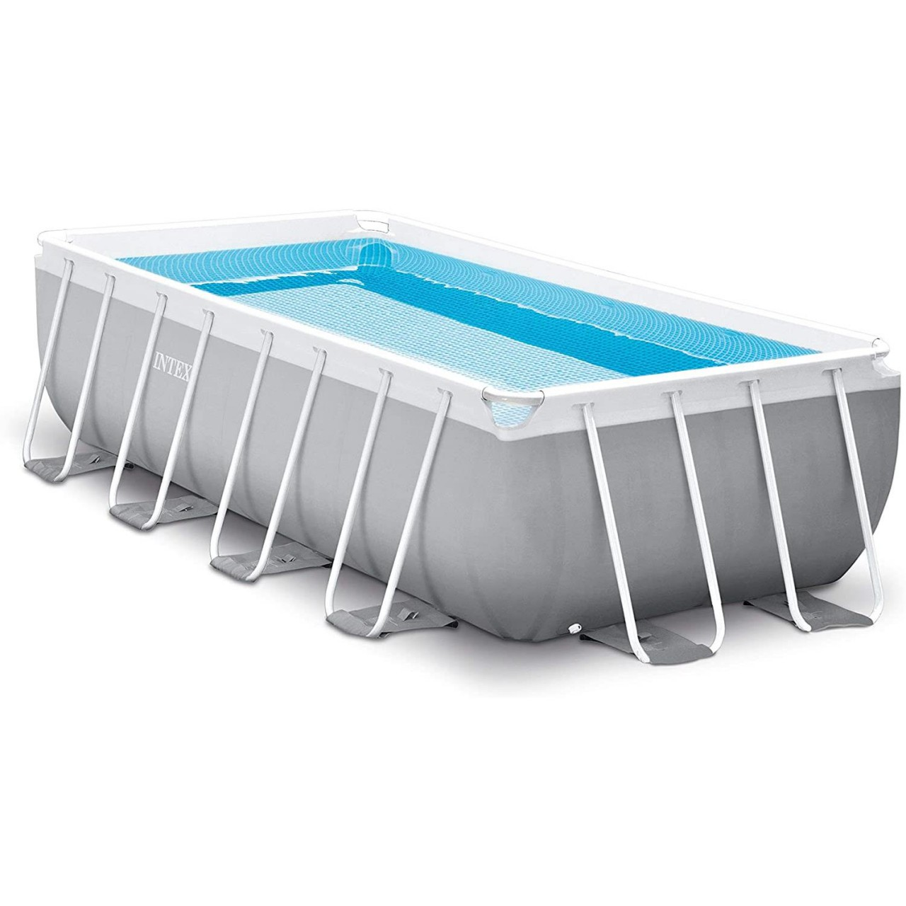 Intex Swimming Pool Set Frame Prism 488x244x107cm Pumpe Leiter Boden-Abdeckplane