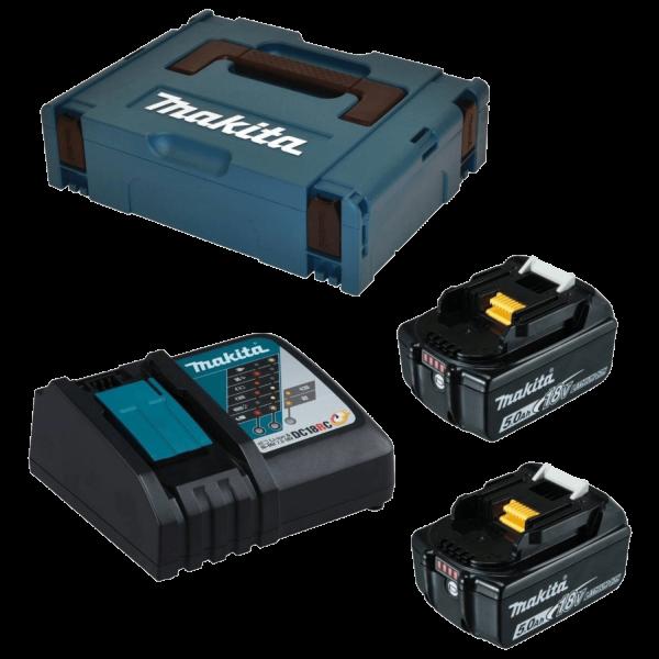 Makita 197624-2 Power Source Kit im MAKPAC Gr. 1  2x Akkus und 1x Ladegerät 5Ah