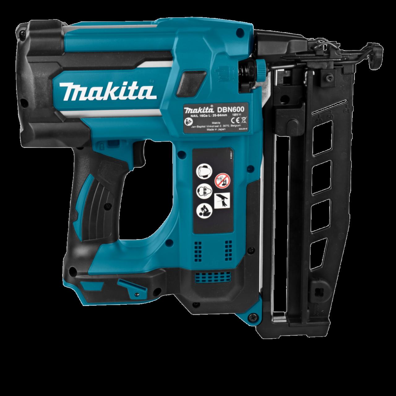 Makita DBN600RTJ Akku-Stauchkopfnagler 18V, 25-64 mm inkl. 2 x Akku, Ladegerät, MAKPAC Gr. 4 inkl. E