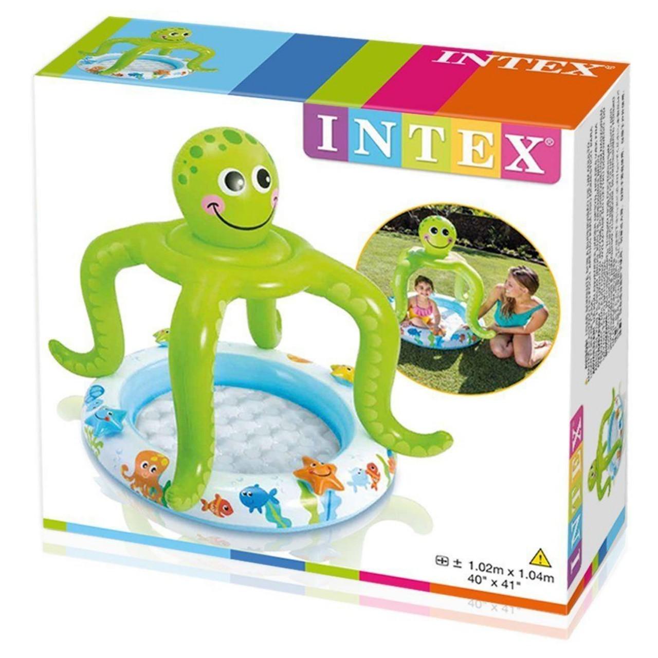 Intex Kinderpool Krake mit Sonnenschutz Planschbecken mit weichem Boden 57115