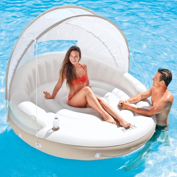 Intex 58292 Badeinsel Schwimmliege Ø 199 cm Lounge Luftmatratze Wasserliege Dach