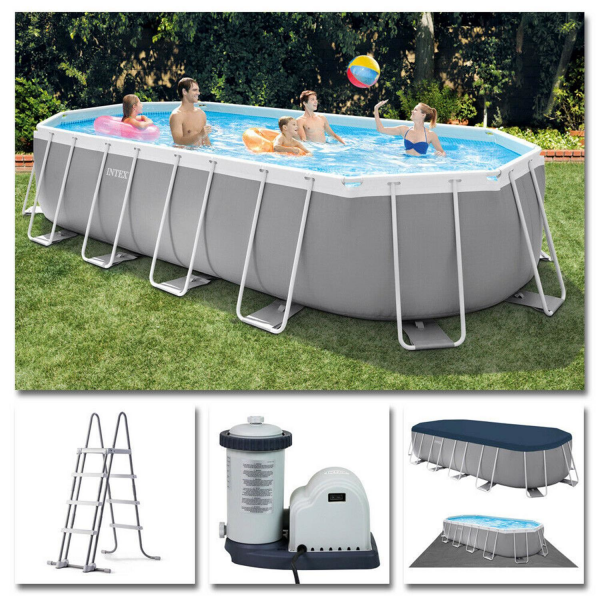 Intex Prism Frame Oval Pool Swimming Pool 503x274x122 cm Schwimmbad Filterpumpe