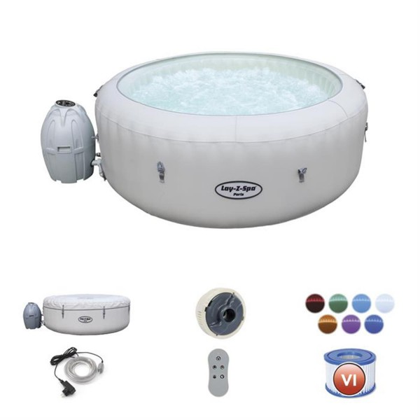 Bestway 54148 Whirlpool Lay Z Spa Paris mit Heizung Jacuzzi Massage 196x66 cm