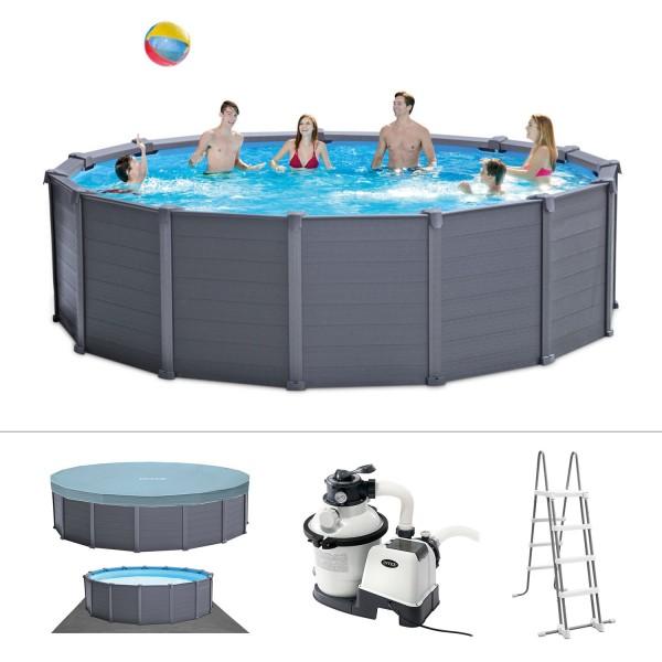 Intex Frame Pool Set Graphit Leiter Boden-Abdeckplane Sandfilteranlage 478x124cm