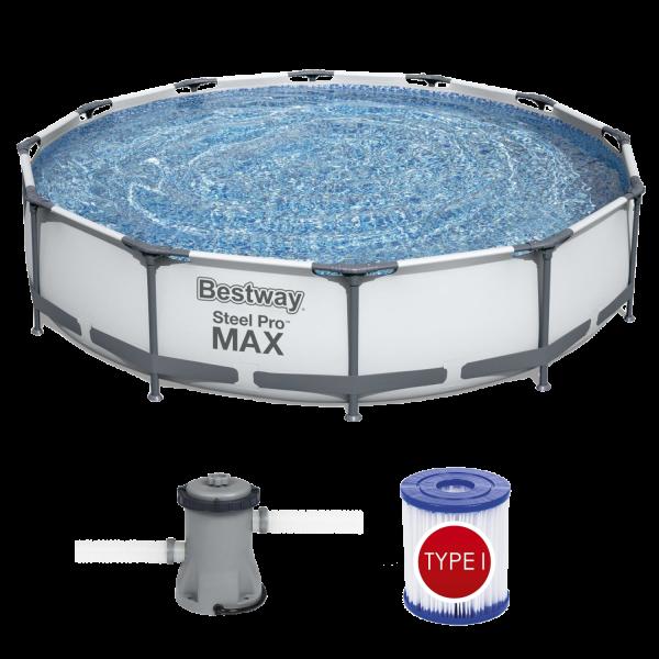 Bestway 56416 Pro Max™ Frame Pool Steel Pro Set Schwimmbad 366x76cm Pumpe 1.249 L/h