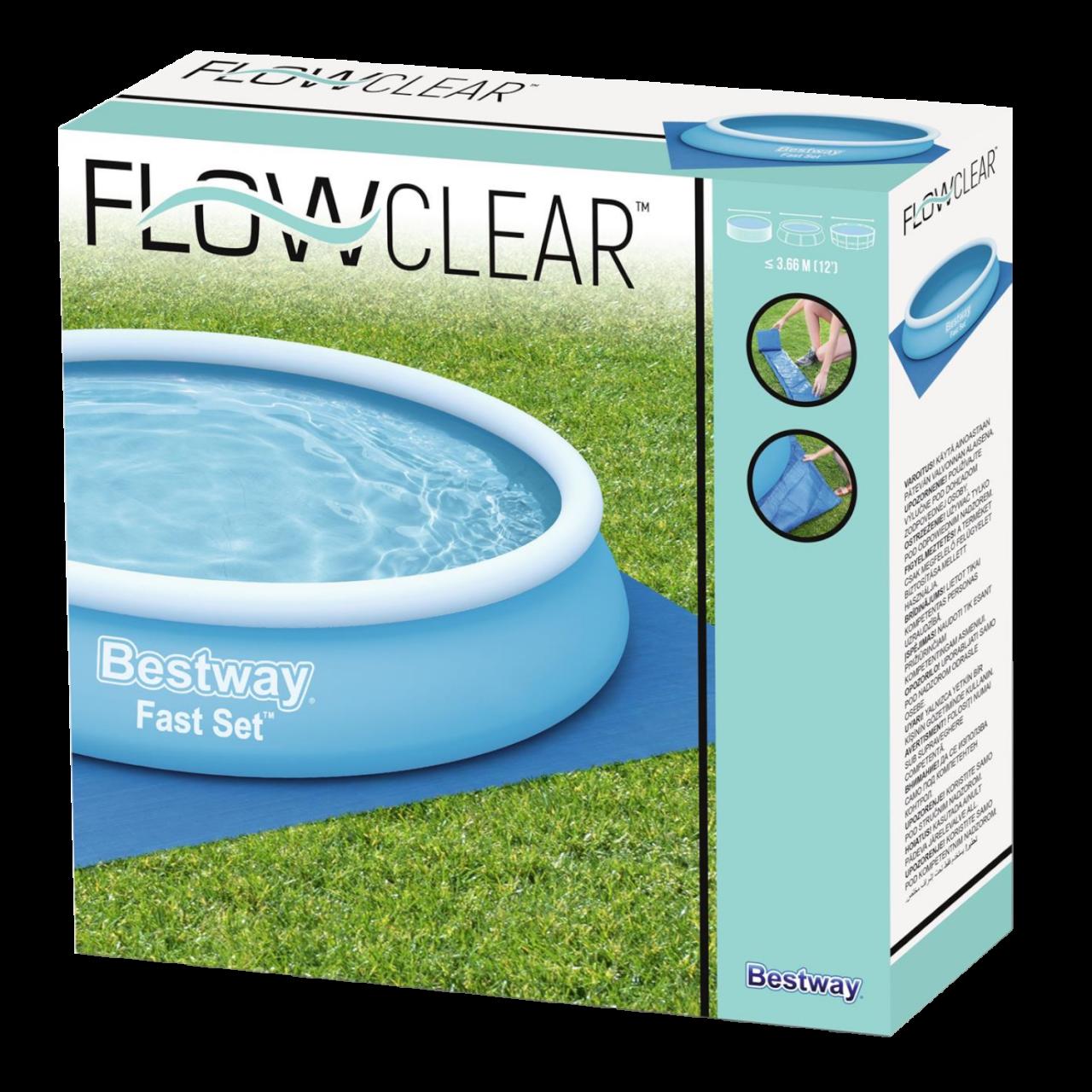 Bestway 58002 Flowclear Bodenplane Quadratisch 396x396cm Bodenschutz Poolschutz