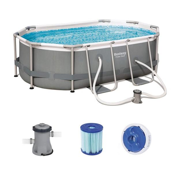 Bestway 56617 Oval Frame Pool Power Steel 300x200x84cm Filterpumpe Swimmingpool