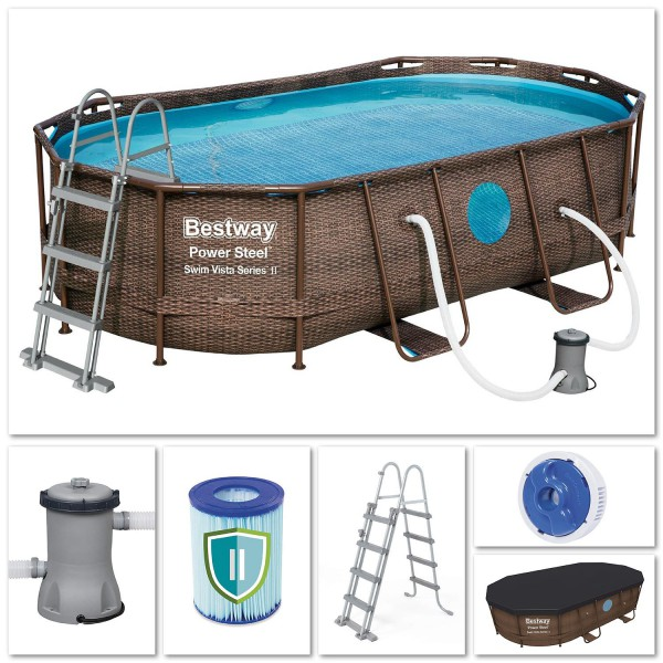 Bestway 56714 Power Steel Pool Oval Set Rattanoptik 427x250x100 cm