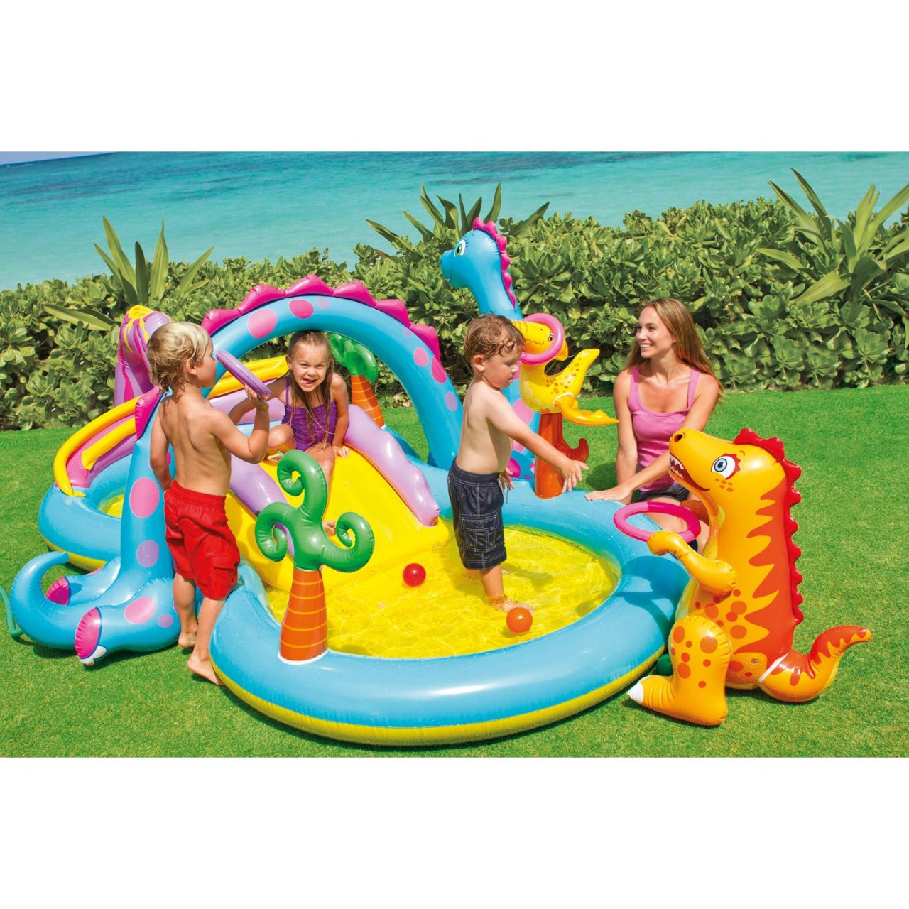 Intex 57135 Play Center Dinoland Planschbecken Pool Wasserrutsche +Bälle
