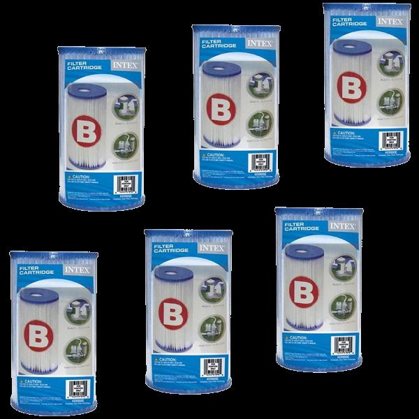 Intex 29005 Filterkartusche Typ B Filterpumpe 6 Stück Ersatzfilter Pool Pumpe
