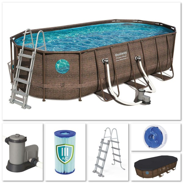 Bestway 56716 Power Steel Pool Oval Set Rattanoptik 549x274x122 cm