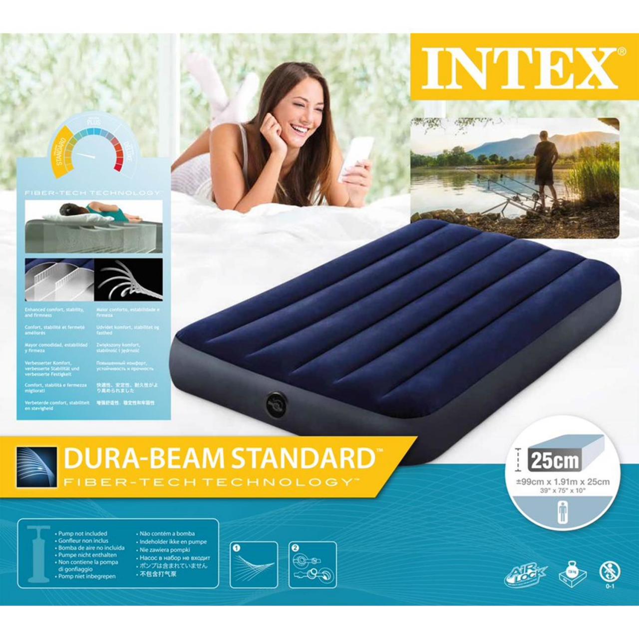 Intex Luftbett Reisebett Gästebett Single Camping Luftmatratze 191x99x25cm 64757
