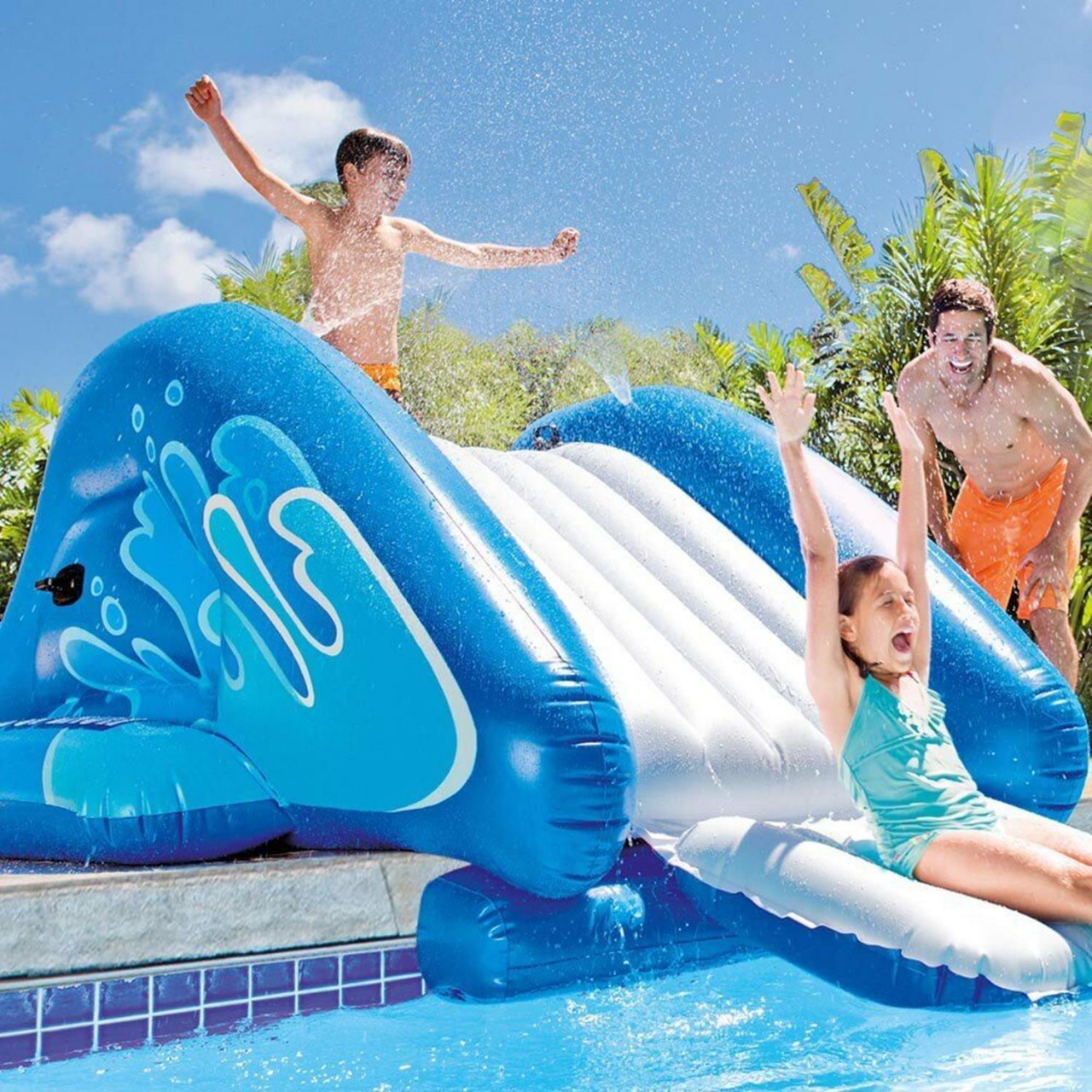 Intex Wasserrutsche für Pool Kinderutsche aufblasbar Spaß 333x208x117 cm 58849